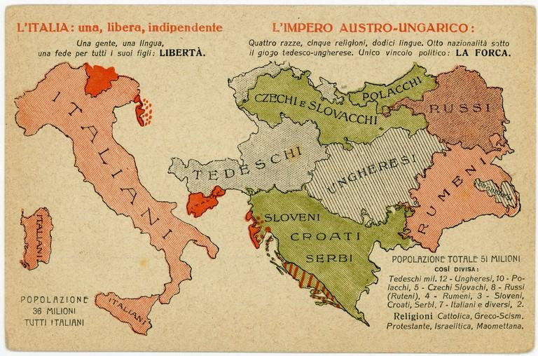Cartina Politica Italia Prima Guerra Mondiale.Prima Guerra Mondiale Carta Geografica Dell Italia E Dell Impero Austro Ungarico