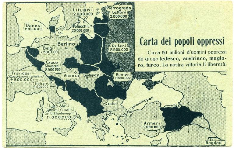 Cartina Geografica Prima Guerra Mondiale.Prima Guerra Mondiale Carta Geografica Dell Europa Dell Est E Del Medio Oriente Con L Indicazione Dei Popoli Oppressi